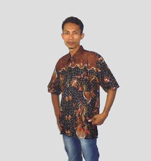 Baju batik kantor pria, Hitam-Coklat