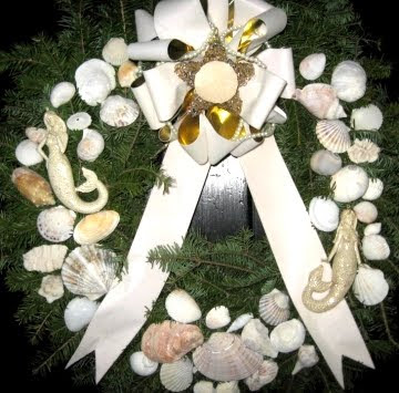 Christmas wreath with mermaids