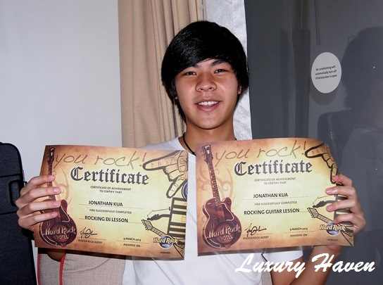 hard rock hotel penang guitar dee jay certificates