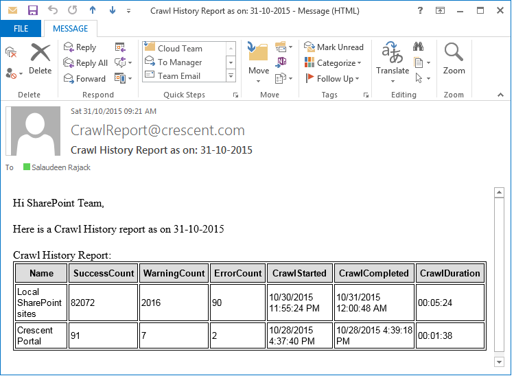 sharepoint 2013 search crawl history