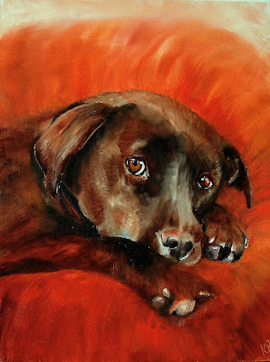 oil painting of chocolate labrador, orange background, dog painting by Karen Robinson