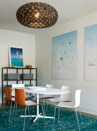 modern blue and orange dining room