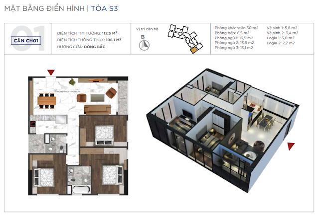 Loại căn hộ 03 phòng ngủ, diện tích 106m2