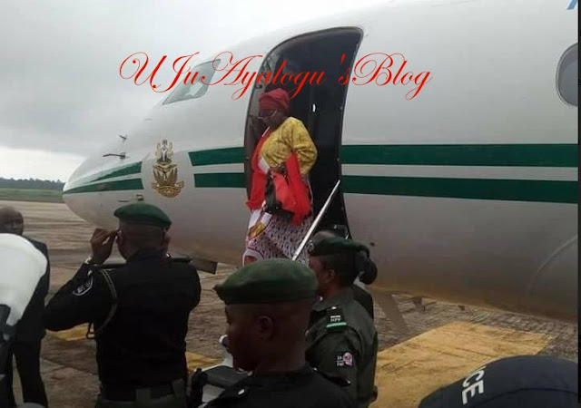 JUST IN: Aisha Buhari Returns From UK In Presidential Jet... see Photo