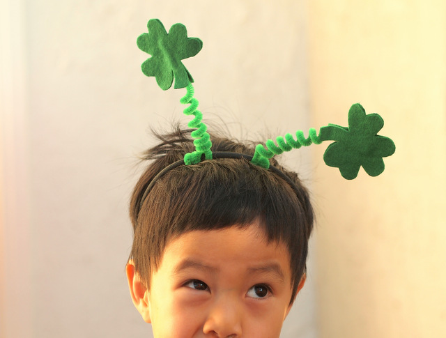 Make an easy shamrock headband for St. Patrick's Day