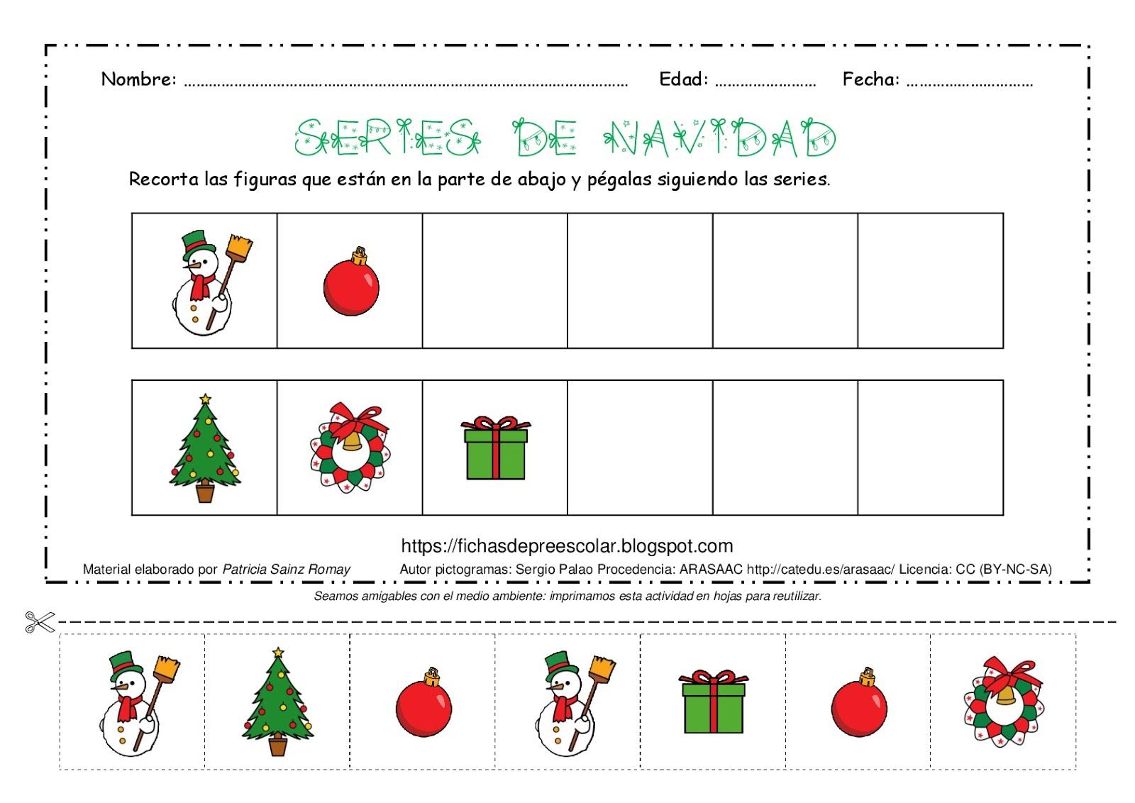 Fichas De Educación Preescolar Series Lógicas De Navidad