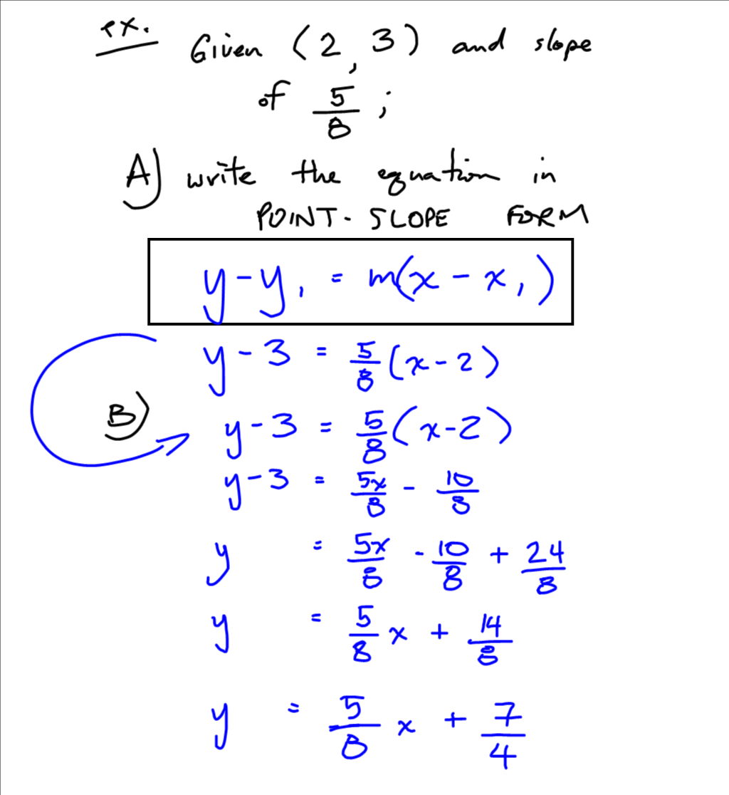point slope form calculus  Grade 8 Applied PreCalculus Cheetah: Point Slope form notes