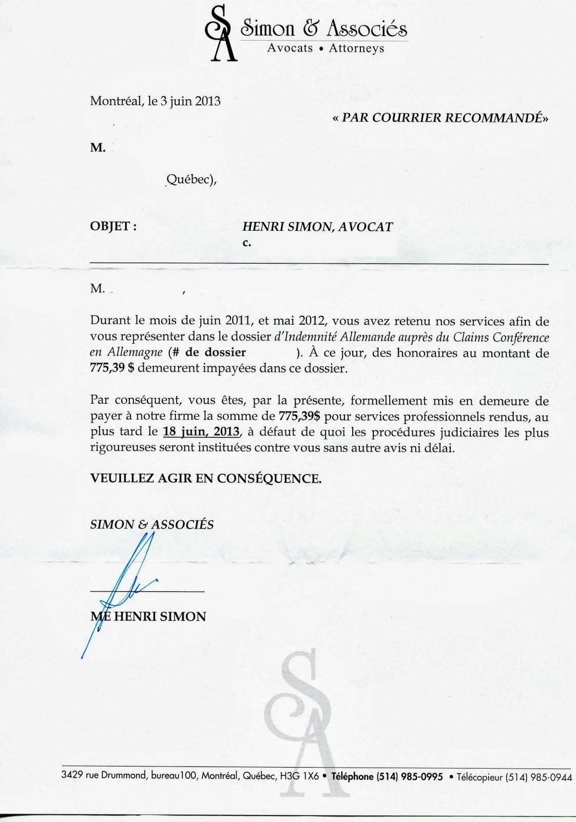 petites créances mise en demeure Véronique Chemla: 2013/10   2013/11 petites créances mise en demeure
