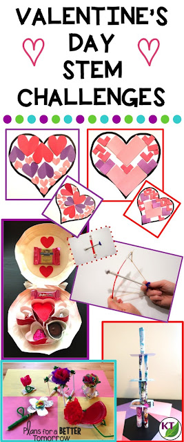 Valentine's Day STEM Challenges with modifications for grades 2 -8 included.