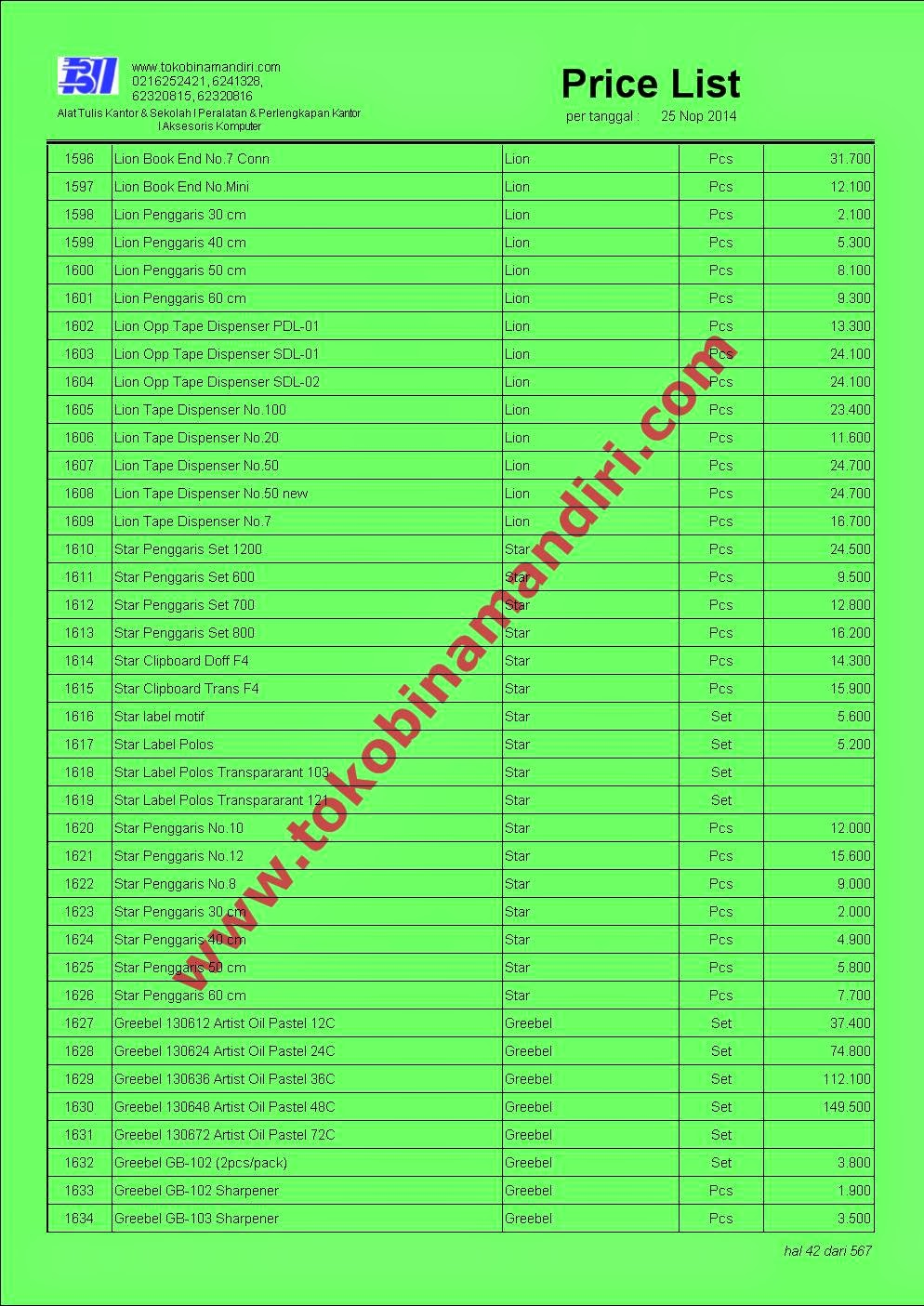 Daftar Harga Stationery ATK Kantor di www.alattulis.co.id