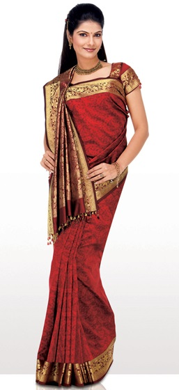 Wrap around saree in varation of Gujarati saree