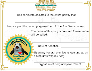 Free Printable Porg Adoption Certificate