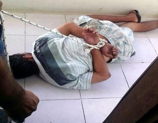 Suspeito de roubo é amarrado pela vítima em Aracaju