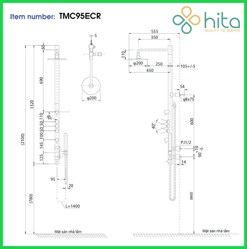 Sen cây TMC95ECR – Sen tắm nóng lạnh TOTO
