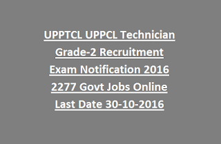 UPPTCL UPPCL Technician Grade-2 Recruitment Exam Notification 2016 2277 Govt Jobs Online Last Date 30-10-2016