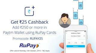 Paytm RuPay Card Offer - Add Rs.250 & Get Rs.25 Cashback