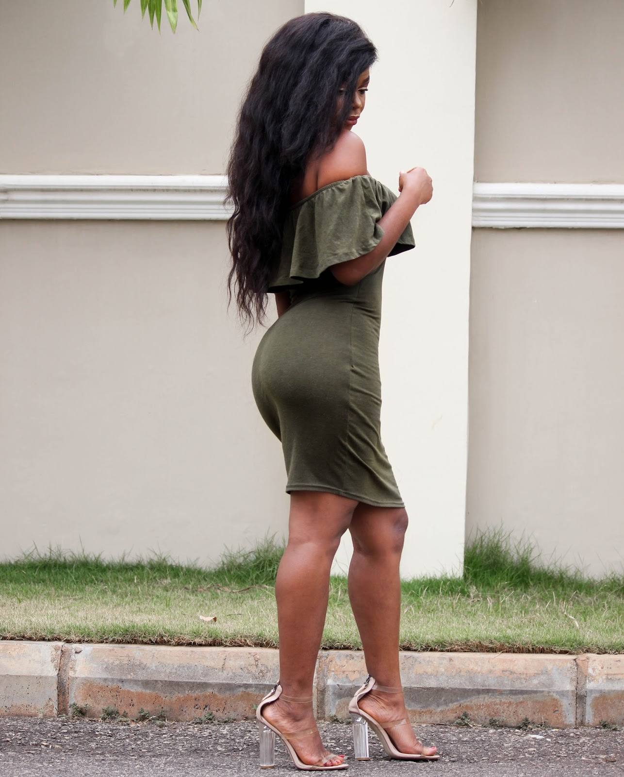 OLIVE GREEN OFF SHOULDER DRESS - Olive Green Off Shoulder Bodycon Dress from Mr. Price