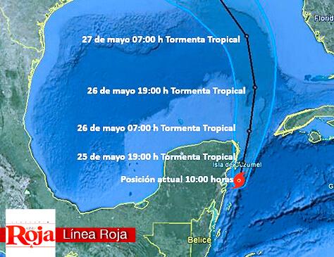 Se forma ALBERTO, primer ciclón tropical de la temporada. Decretan alerta amarilla para Playa del Carmen