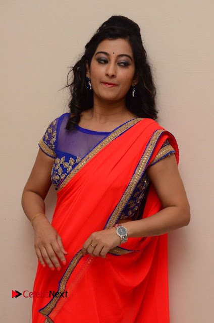Tejaswini in Red Saree Transparent Blue Blouse Choli at Pratikshanam Audio Launch