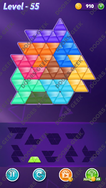 Block! Triangle Puzzle Proficient Level 55 Solution, Cheats, Walkthrough for Android, iPhone, iPad and iPod