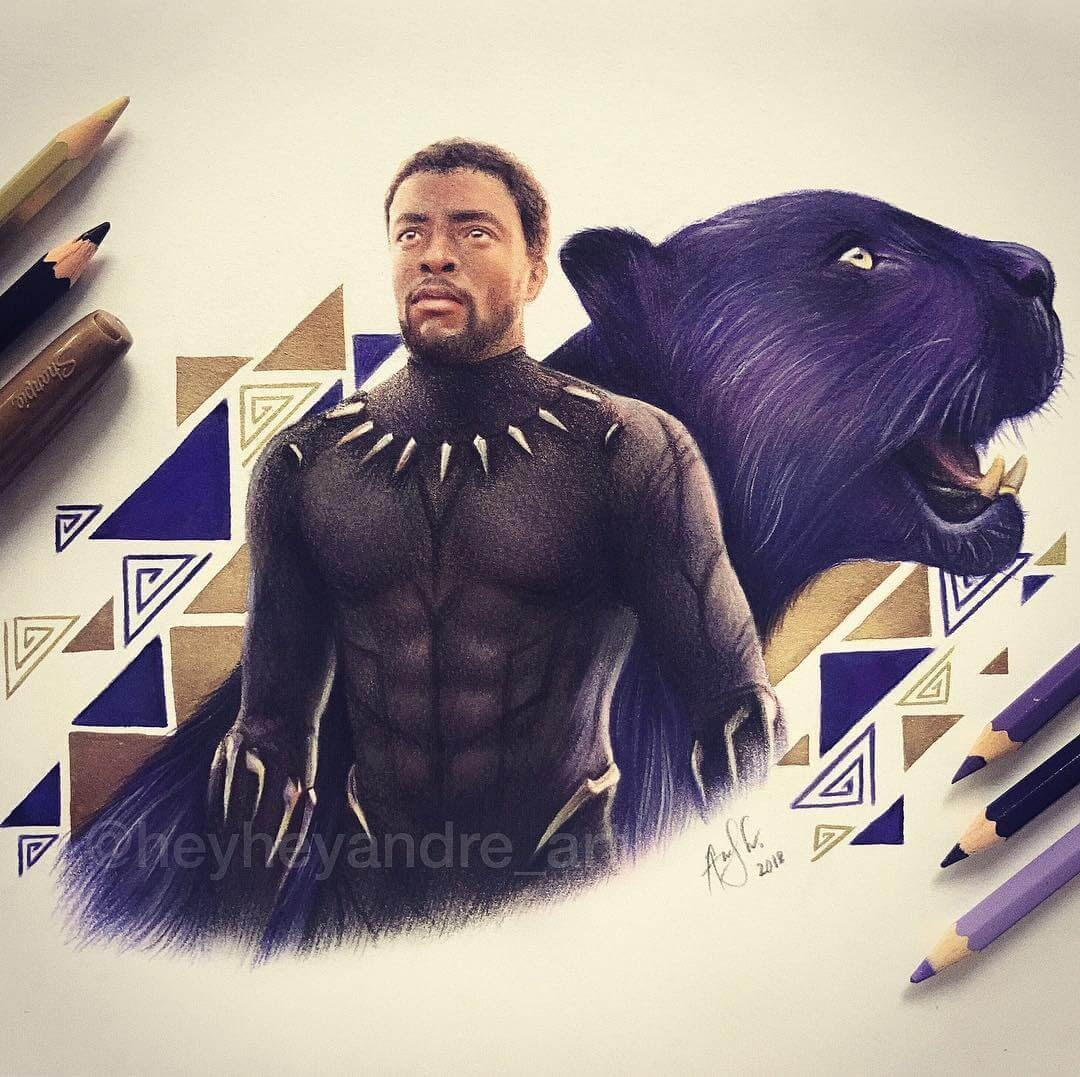 07-Black Panther-A-Manguba-Drawings-of-Celebrities-and-the-Zodiac-www-designstack-co