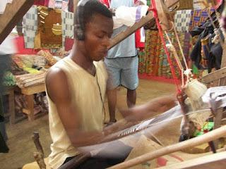 Weaving kente cloth in Bonwire Africa