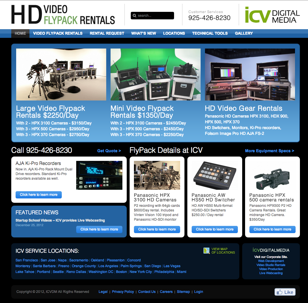 Rental Site: Video Flypack Rental Website