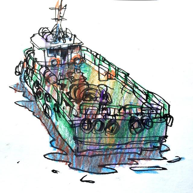 Fountain pen, coloured pencils, watercolors