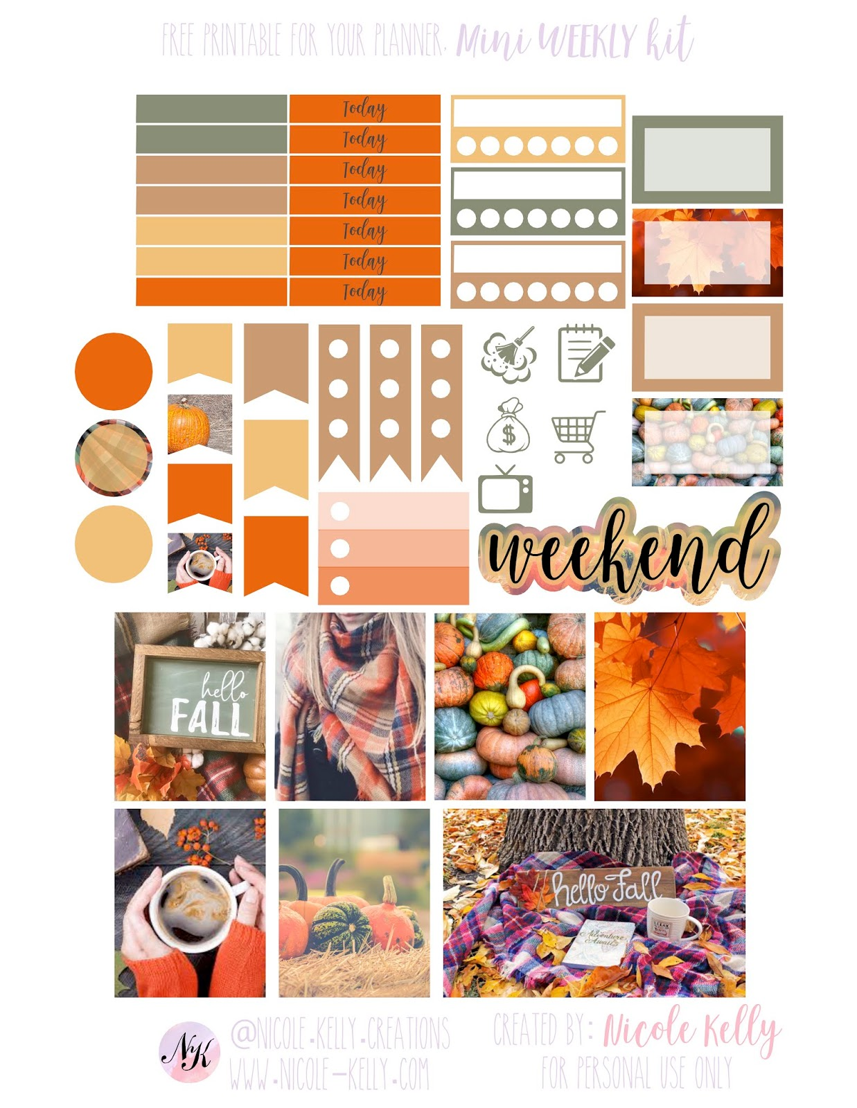 nicole kelly: free printable planner stickers - hello fall