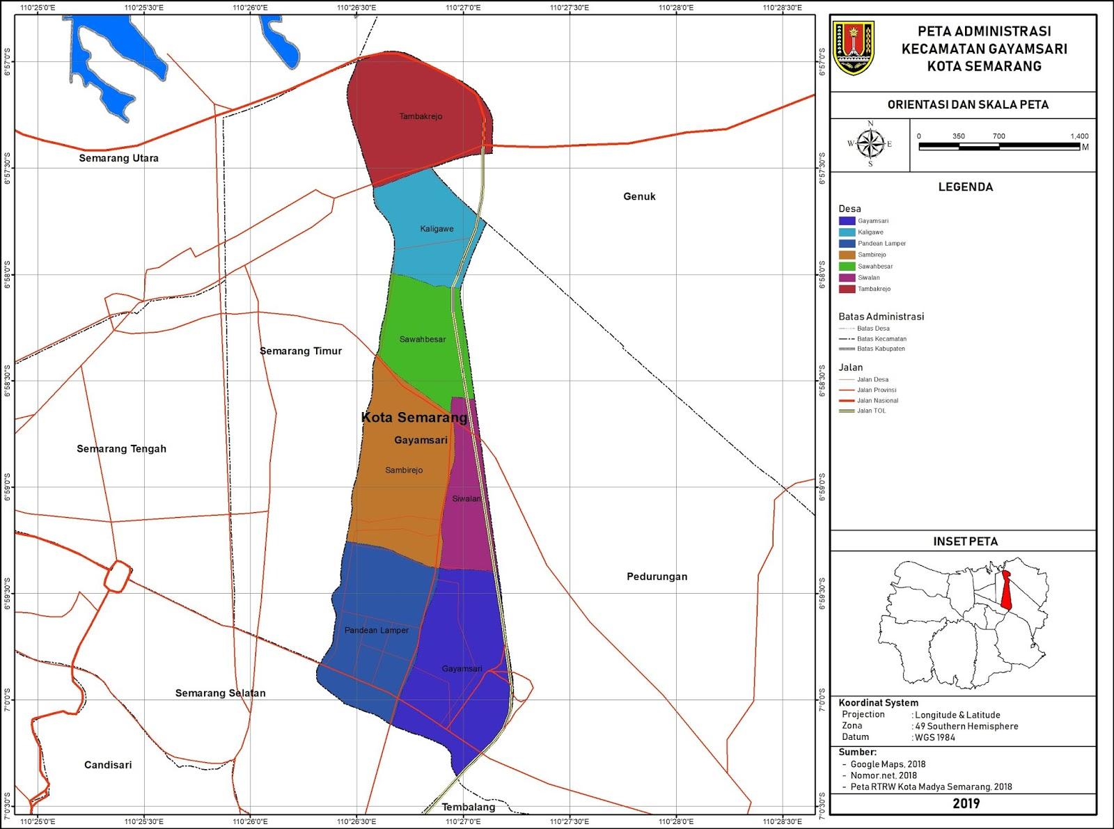 Peta Administrasi Kecamatan Gayamsari, Kota Semarang ...