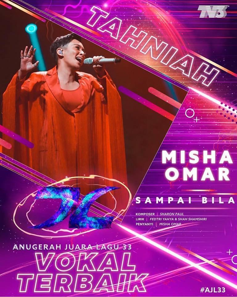 Misha Omar Rangkul Vokal Terbaik, Sufian Suhaimi Rangkul Persembahan Terbaik Di AJL33