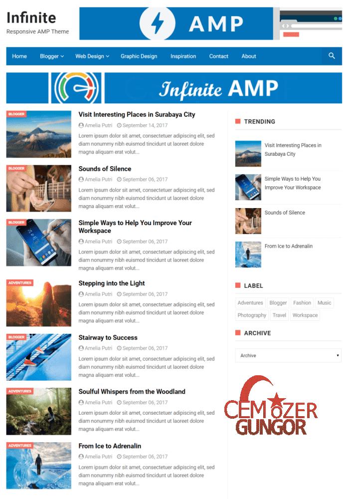 İnfinity Blogger Seo ve Adsense Uyumlu AMP Tema