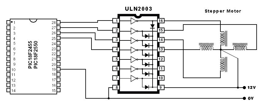 pic16f84 stepper motor controller