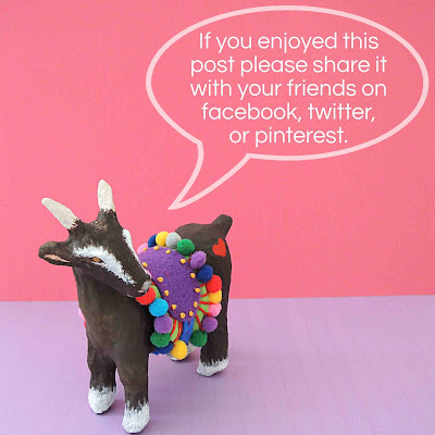 Fred the papier mache goat kindly asking for social shares, if you enjoyed this post