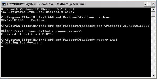 IMEI repair in fastboot