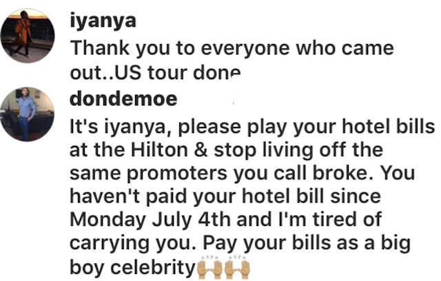 Promoter calls Iyanya out for allegedly owing hotel bill since July 4th