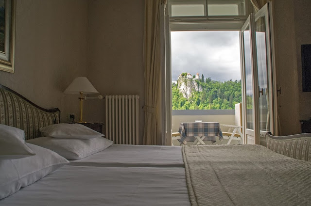 View of Bled Castle from Hotel Toplice Slovenia