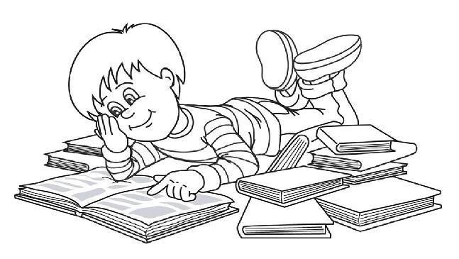 Portal Escuela Colorear Niño Estudiando De Muchos Libros