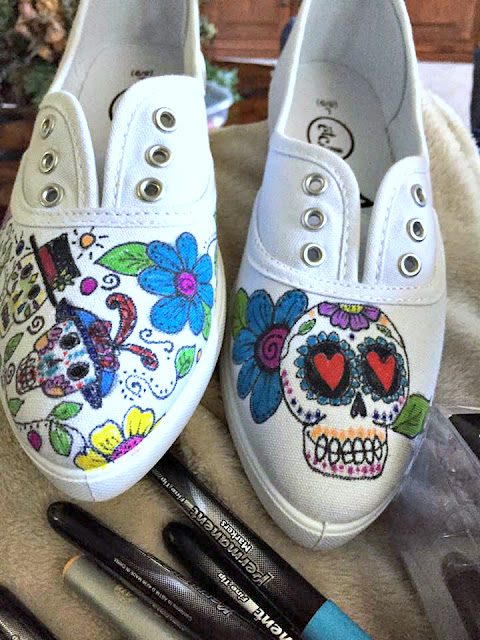 Day of the Dead shoe doodles by Sherri Stokey.