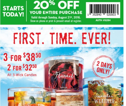 Bath & Body Works 20% Off Coupon + Biggest Candle Sale