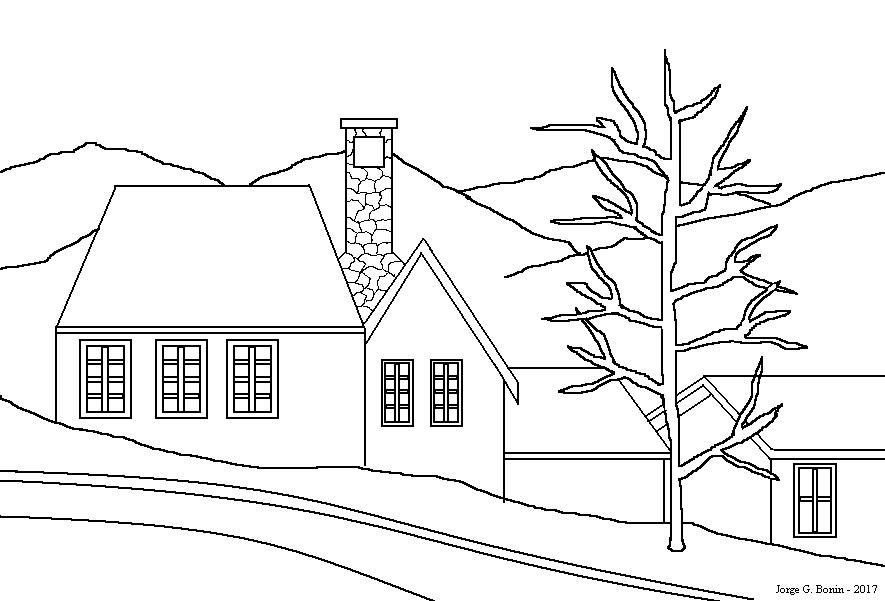 Arte No Paint: Desenho Para Colorir: Casas E Montanhas