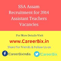 SSA Assam Recruitment for 3914 Assistant Teachers Vacancies