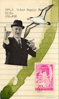 Socialism Romania Robber Baron Sea gull bird library due date card Dada Fluxus mail art collage
