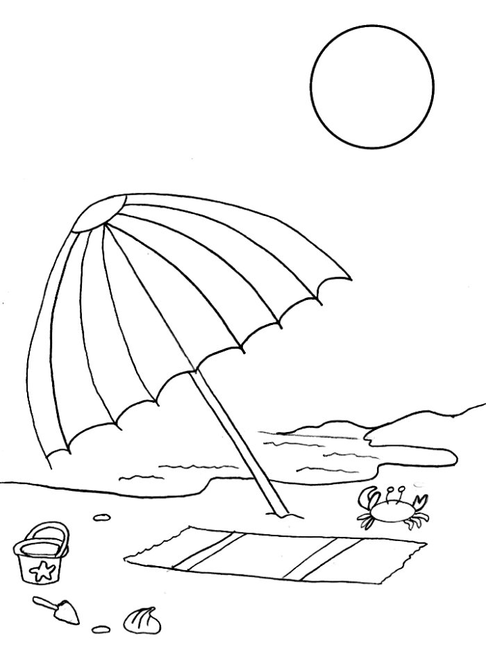 Beach Umbrella Coloring Page