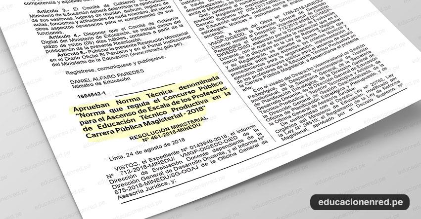 MINEDU: Profesores de Educación Técnico Productiva rendirán prueba de ascenso (R. M. Nº 461-2018-MINEDU) www.minedu.gob.pe