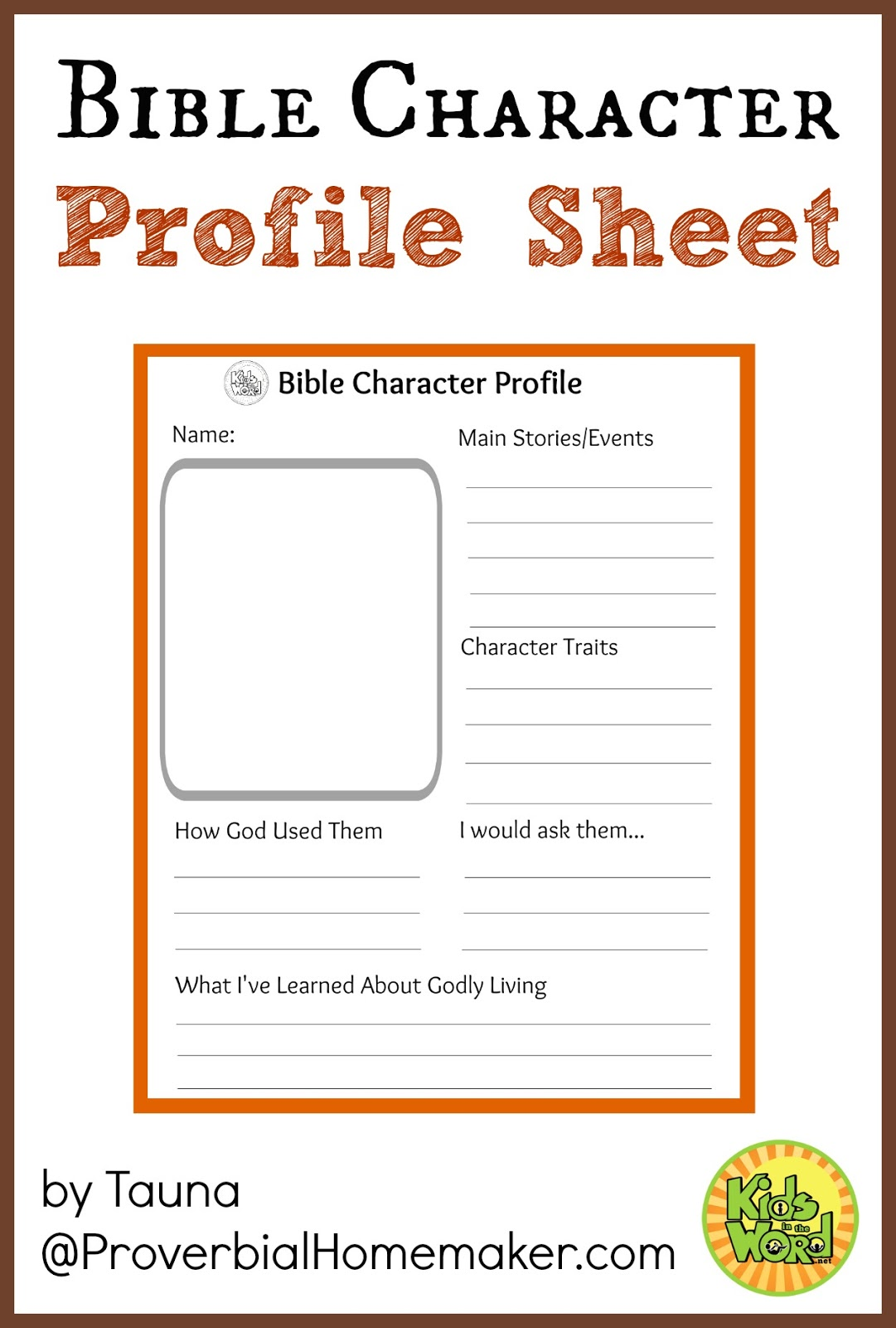 Budget Friendly Homeschooling Bible Character Profile Sheets
