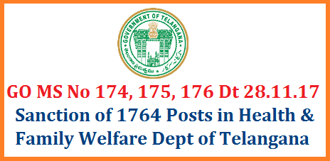 TS Govt Sanctioned New 1764 Posts in Health and Family Welfare Dept - Telangana