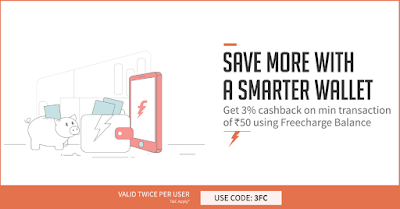 FreeCharge 3% cashback Offer