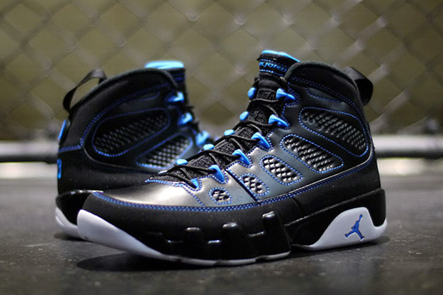 "quality design 4a8b5 c6d59 Jordan continues the onslaught of Air Jordan 9 Retro releases with this new  ""Photo Blue"" colorway. A predominantly dark colorway, the shoe features a  black ..."