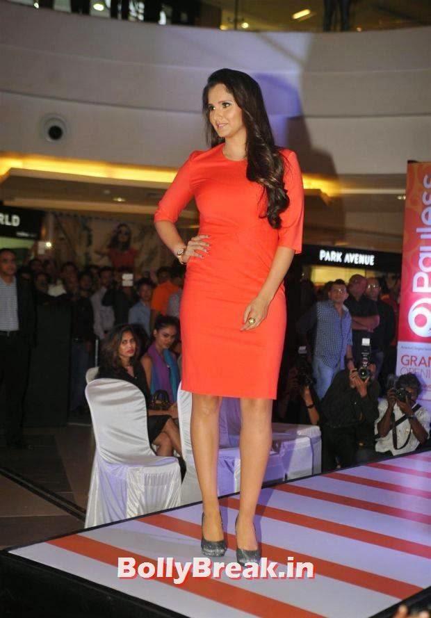 Sania Mirza Stills, Sania Mirza Hot Pics in Red Midi Dress